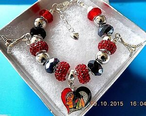 Details About Nhl Chicago Blackhawks Crystal European Team Charm Bracelet Free Shipping