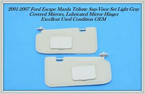 01-07 Ford Escape Mazda Tribute SUN VISOR SET TAN sunvisor OEM
