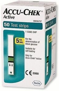 Accu-Chek 50 Test Strips for Active Glucometer with 1 Code Chip Expiry-03/2018.