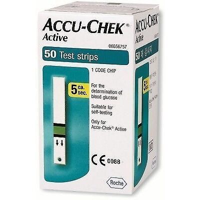 Accu-Chek 50 Test Strips for Active Glucometer with 1 Code Chip Exp - Jan 2018