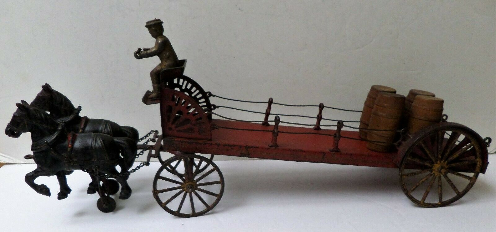 Raro Hubley Wilkins de hierro fundido & Granja caballo Dibujado de estaño Pala De Arrastre Cochero Vagón