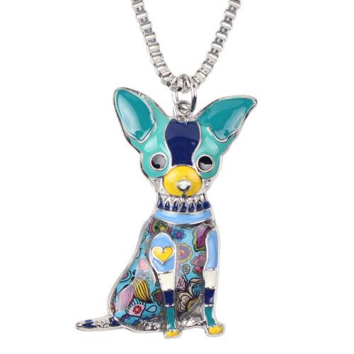 Bonsny Metal Alloy Chihuahuas Dog Choker Necklace Chain Collar Enamel Pendant