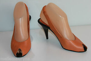 T Tout Vintage Orange Jourdan Escarpins Charles Be Cuir 36 w1qxqYtT