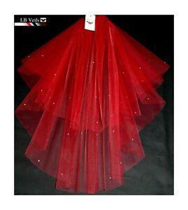 Red-Crystal-Wedding-Veil-Any-Length-2-Tier-Long-Short-Diamante-LBV151-LBVeils-UK