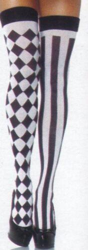BLACK /& WHITE OPAQUE HARLEQUIN THI HI ONE STRIPE LEG 1 CK LEG O//S LA 6120