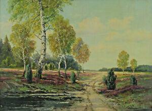 Albert Leaves 1878 - 1935-Märkische Heather with Birch Brandenburg Spreewald