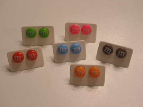 Fake Food Jewelry M/&M/'s Picered Earrings Tiny Kids Size your choice New