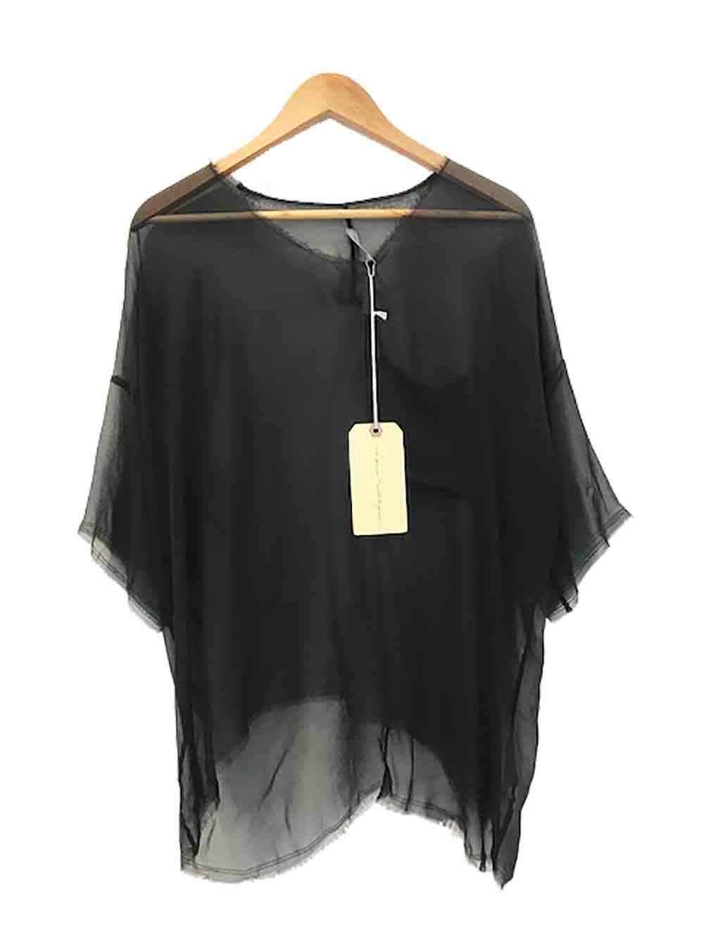 Designer Raquel Allegra Größe 0 (6 to 8 AU) 'Boxy Tee' Style Silk Woherren Top