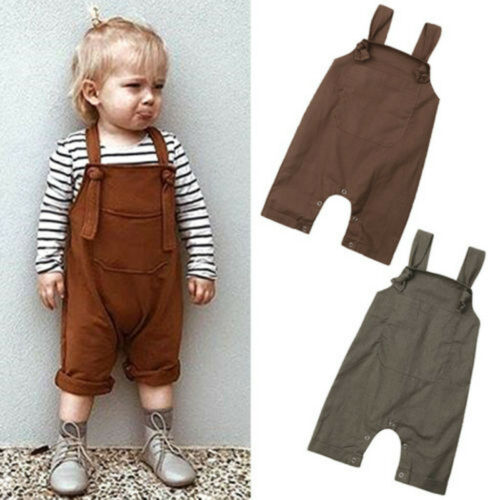 Toddler Kids Baby Girl Boy Overalls Trousers Pants Suspender Strap Denim Jeans