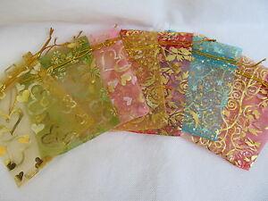 PREMIUM QUALITY ORGANZA GIFT BAGS WEDDING FAVOUR VARIOUS COLOURS 9x9cm 15x12cm