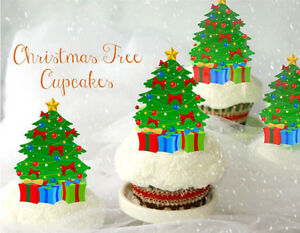 Details About 12 Stand Up Christmas Tree Edible Cupcake Cup Cake Toppers Decoration Images