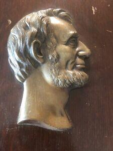 Antique-Abraham-Lincoln-USA-president-Bronze-Plaque