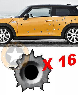 16 X IMPACTS DE BALLES TROUS RAFALE TROMPE-L/'OEIL AUTOCOLLANT STICKER AUTO TA117