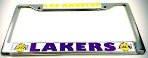 2-LOS-ANGELES-LAKERS-Chrome-Metal-License-Plate-Frame-Dad-lets-be-fans