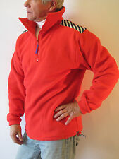 Vintage Red Helly-Hensen Neck 1/4 Zip Pullover Jacket Duplo Poly Med.Made in USA