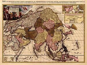 Carte Chine Antique.Details Sur Repro Antique Ancienne Couleur Carte De L Asie Continent Asiatique Chine Inde Pakistan Nouveau Afficher Le Titre D Origine