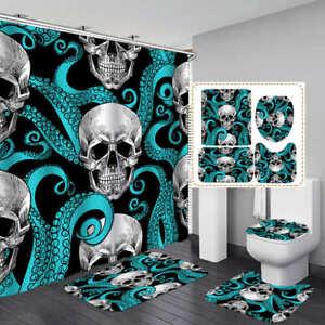 Pink Flower Skull Shower Curtain Bath Mat Toilet Cover Rug Bathroom Decor