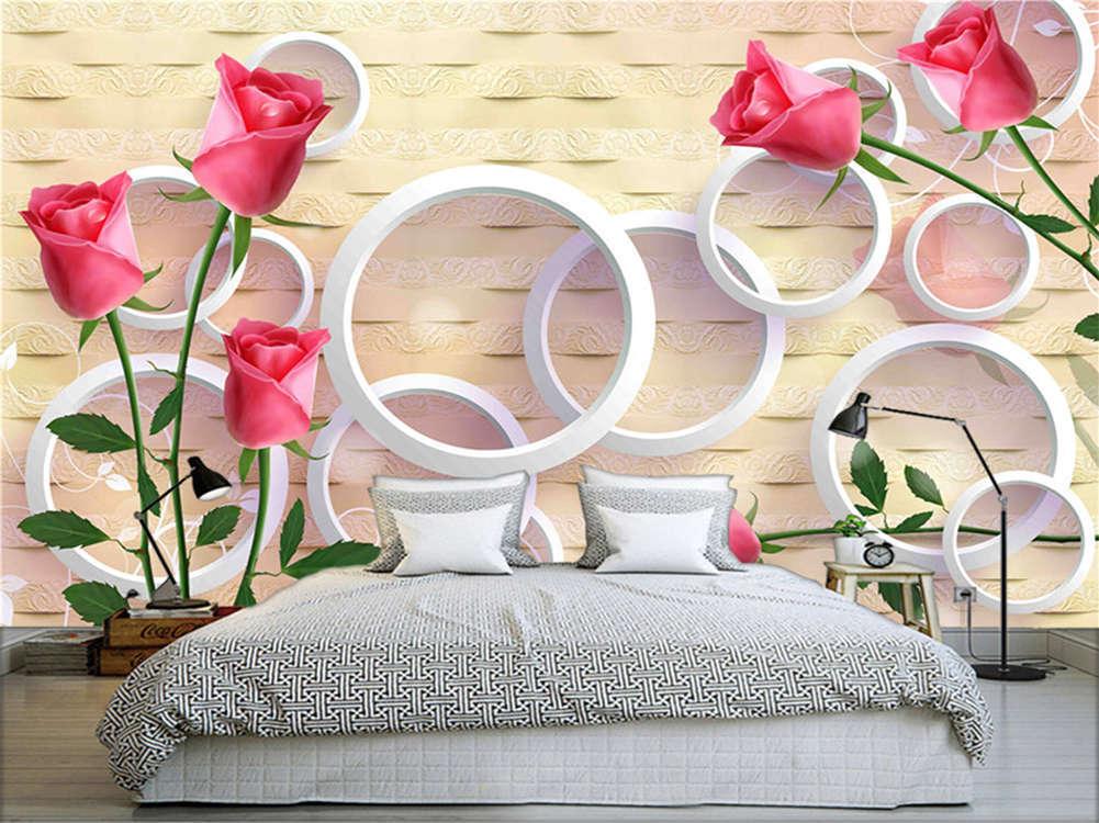 Vivid Slender Roses3D Full Wall Mural Photo Wallpaper Printing Home Kids Deco