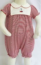 Janie And Jack Red White Striped Infant 1 Piece Outfit Sailboat Boat NWTS Cotton