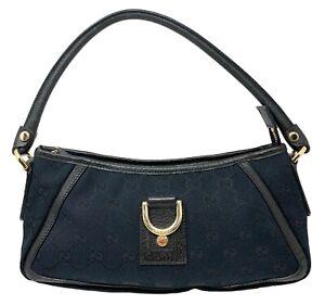 Authentic GUCCI GG Logo Hand Bag Shoulder Bag Canvas Leather Black Gold Rank AB+