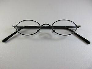 cec6017f9fa70 VINTAGE Small Oval Metal Dark Pewter Gray Reading Glasses Spring ...