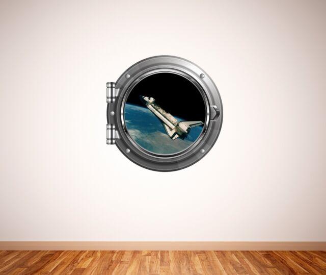 space shuttle rocket scene porthole wall sticker 041