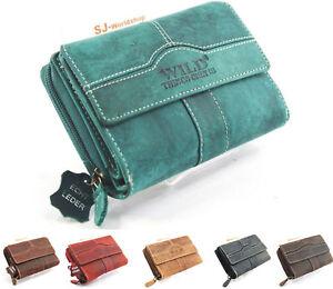 Damen-Echt-Leder-Portemonnaie-Brieftasche-Geldboerse-Etuis-Wallet-034-WILD-034
