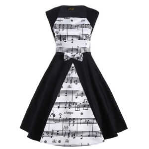 Women Retro Sleeveless Floral Music Note Print A Line Cocktail Swing Party Dress