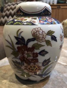 VINTAGE JAPANESE IMARI ORANGE COBALT BLUE GOLD GILT CERAMIC LIDDED GINGER JAR