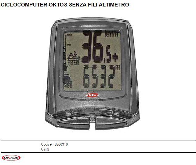 CICLOCOMPUTER OKTOS SENZA FILI ALTIMETRO S206316