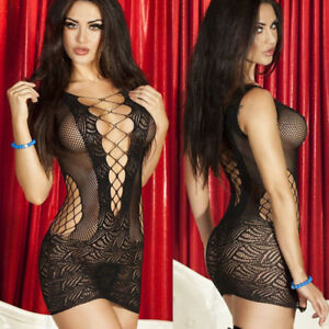 Women-039-s-Sexy-Lingerie-Lace-Fishnet-Hollow-Mesh-Babydoll-Underwear-Short-Dress
