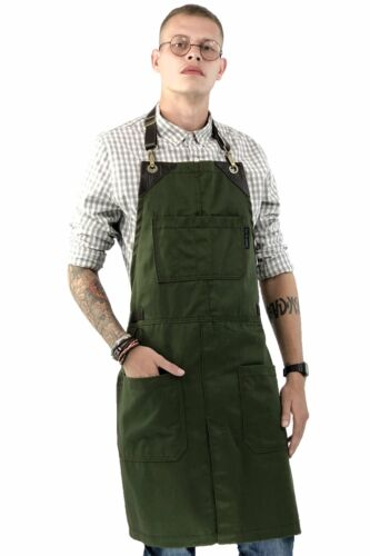 Leather Straps Apron Chef Ba Green Twill Split No-Tie Bartender Tattoo