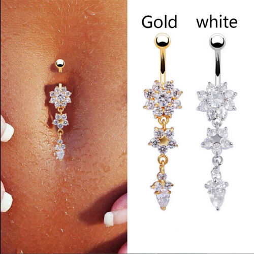 Beauty Crystal Flower Dangle Navel Belly Button Ring Body Piercing Jewelry VvV