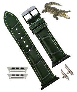 42mm / 44mm Green Genuine Alligator Leather Apple Watch Band 6 5 4 3 2