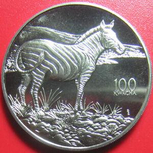 1998-ZAMBIA-100-KWACHA-BURCHELL-039-S-ZEBRA-AFRICAN-WILDLIFE-RARE-CU-NI-no-silver