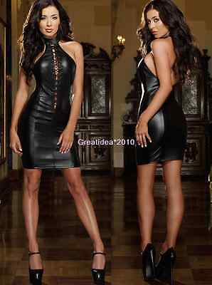 Sexy Halter PVC Black Spandex Gothic Fetish Lingerie Bondage Clubwear Mini Dress