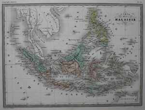 MALAYSIA-BORNEO-PHILIPPINES-JAVA-original-antique-map-Malte-Brun-c-1882