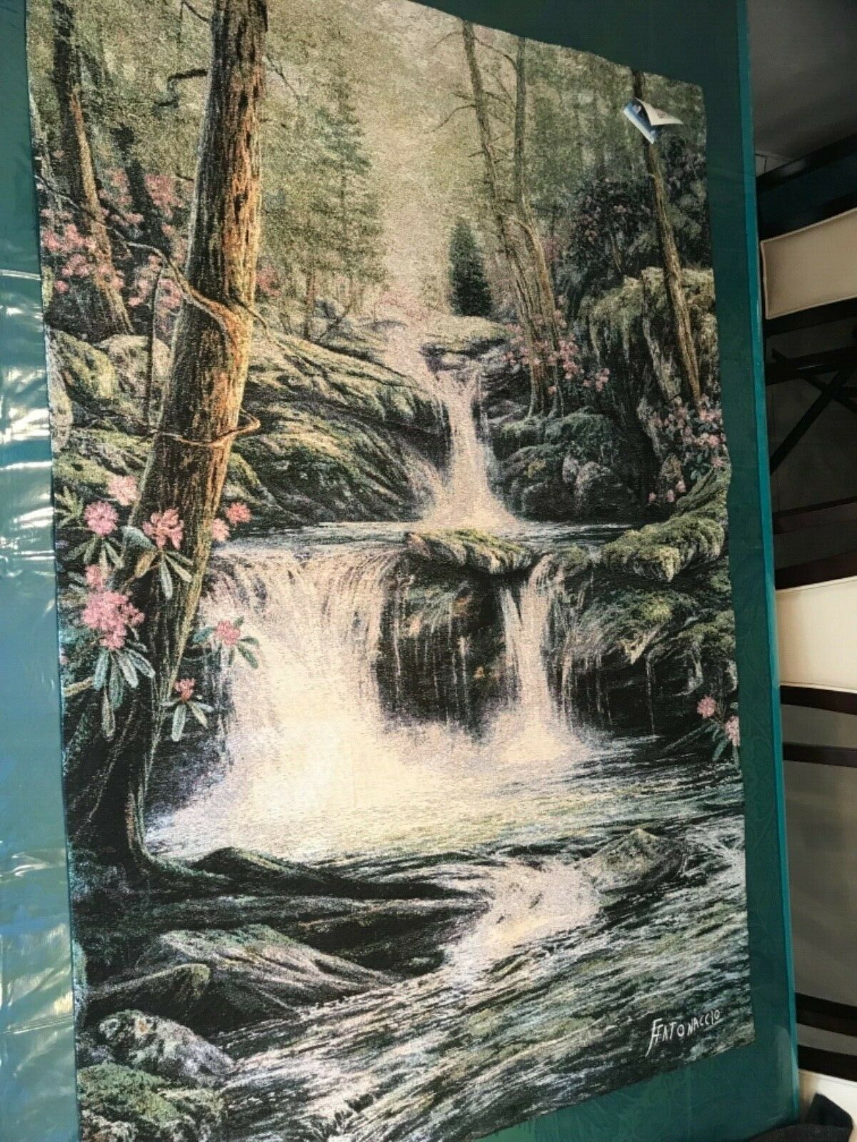 Waterfall- Stream -Forest Wall Hanging -Tapestry-Manual Weavers made in USA