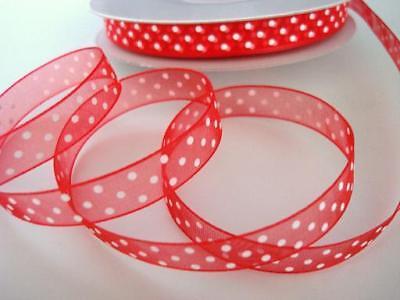 """50 yards Sheer Polka Dot 3//8/"""" Organza Ribbon//wedding//Craft R94-Ivory *FREE SHIP"""