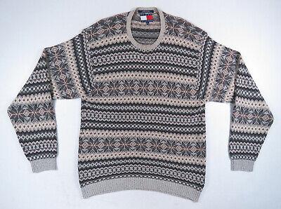 100% Vero Vintage 90s Tommy Hilfiger Norvegese Fair Isle Leggero Maglione Girocollo Xl