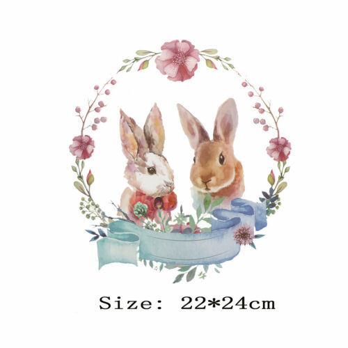 Rabbit Iron On Transfers Flower Patches For Clothes Decor Washable Stickers UK