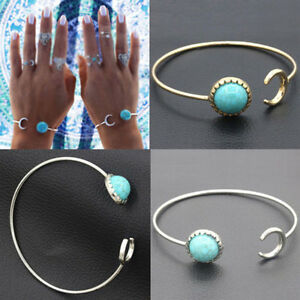 Bohemian-Vintage-Women-Gold-Silver-Plated-Turquoise-Open-Bangle-Cuff-Bracelet
