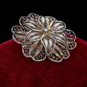 Antique-Vintage-Nouveau-925-Sterling-Silver-Filigree-Floral-Flower-Pin-Brooch