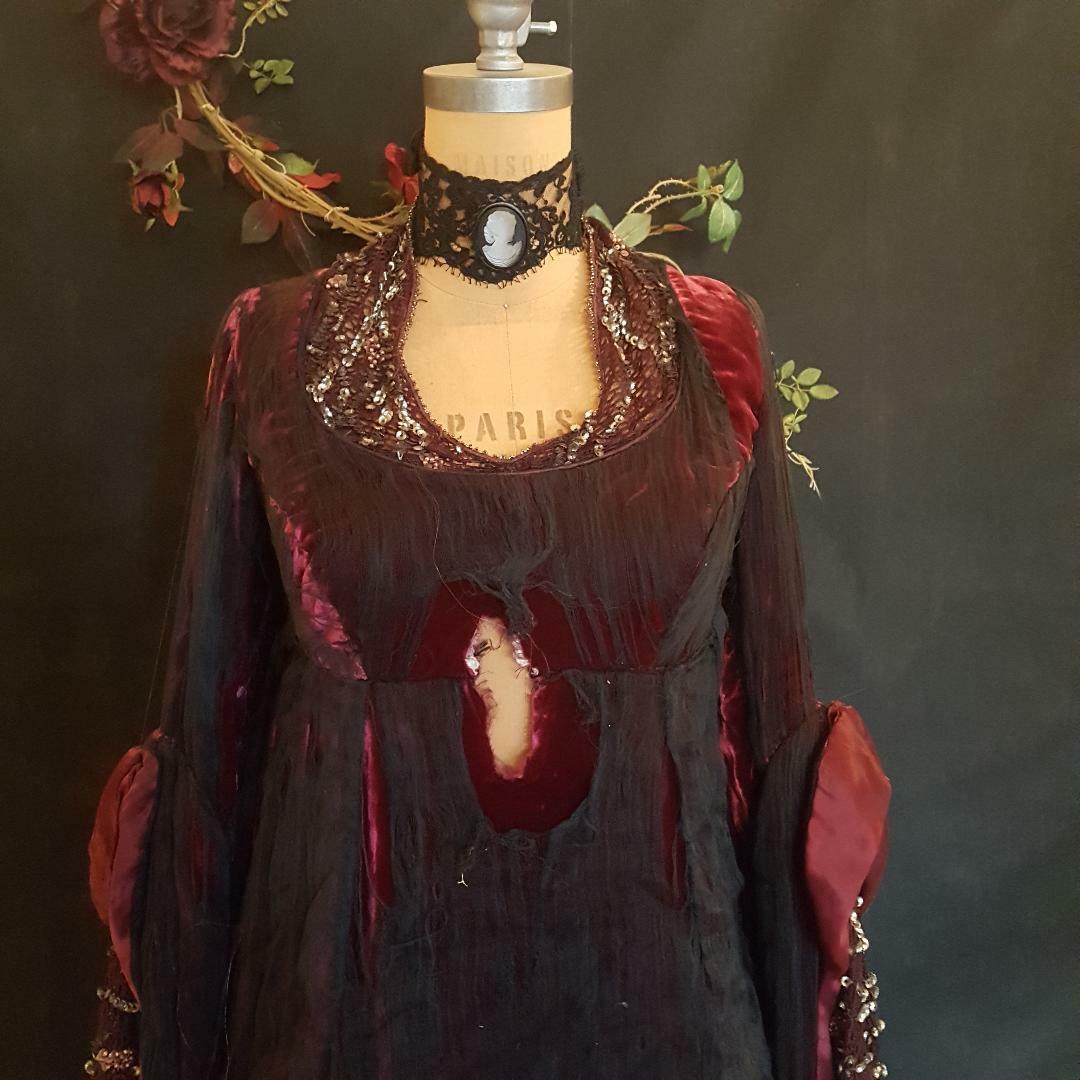 Authentic Movie Costume Tattered Silk, Velvet & Beadwork ~