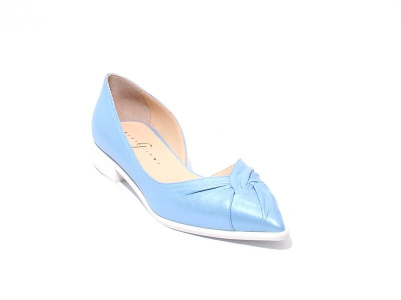 Gibellieri 15b Metallic bluee Leather Pointed Toe Flats shoes 37   US 7