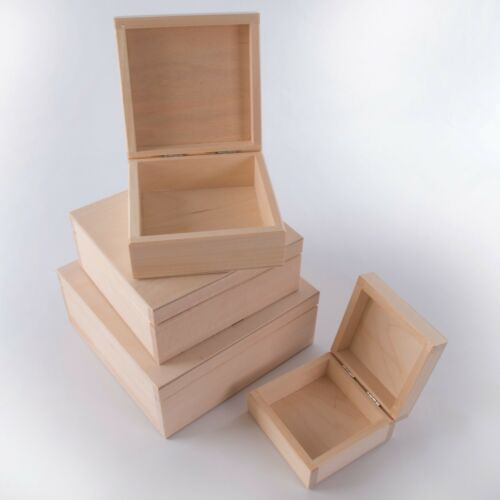 4 in 1 or separately Wooden Square Keepsake Boxes //Plain Trinket Memory Craf Box