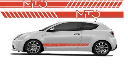 Fasce adesive Alfa Romeo per MITO strisce fiancate laterali rosso logo scritta