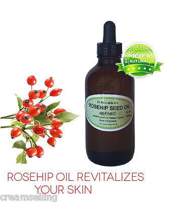 4 oz Glass Bottle REFINED Rosehip Oil Pure Organic Rose Hip Oil Cold Pressed