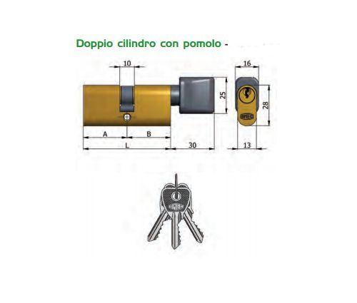 CILINDRO OVALE OMEC CON POMOLO 143//05 MM.60D IN OTTONE 3 CHIAVI A SPINE 27+33