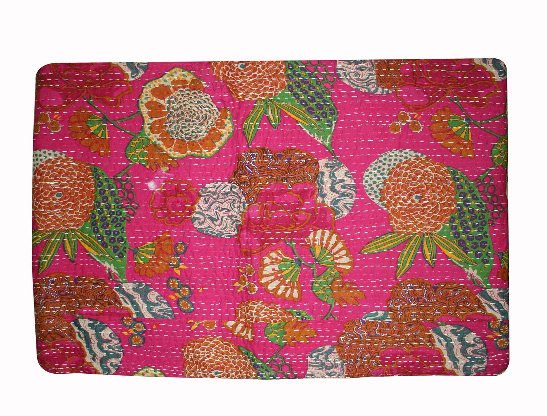 PinkCotton handmade Fruit Print Single size Ralli kantha quilt Bedspread Blanket